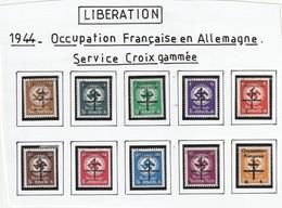 FRANCE LIBERATION. OCCUPATION FRANCAISE..Service Croix Gammé Série 9/18** Signé P MAYER - Libération