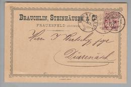 Schweiz Wertziffer 1894-11-15 Corr.karte Mit Perfin # C012 Zu#60B Brauchlin, Steinhäuser &Co.Frauenfeld - 1882-1906 Armarios, Helvetia De Pie & UPU