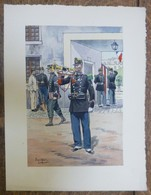 PIERRE ALBERT LEROUX - L'armée Française - Clairon - Belle Planche Rehaussée Aux Coloris -  1930 - 32 Cm * 24 Cm - Books, Magazines  & Catalogs