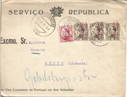 SAN SEBASTIAN CC CONSULADO PORTUGAL SELLO VAQUER SOBRECARGADOS - 1931-50 Cartas