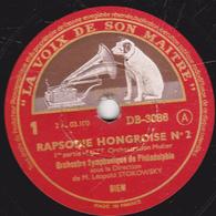 78 Trs - 30 Cm - Etat EX - RAPSODIE HONGROISE N°2 De LISZT 1re Partie Et Fin Orchestre Symphonique De Philadelphie - 78 T - Disques Pour Gramophone