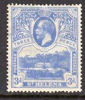 St. Helena GV 1922 3d Bright Blue, Wmk. Multiple Script CA, Hinged Mint, SG 91 - Saint Helena Island
