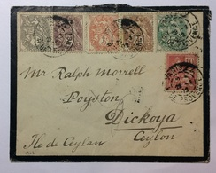 FRANCE - 1902 Mourning Cover Multi-stamped Paris To Dickoya Ceylon - France