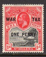 St. Helena GV 1917 WAR TAX / ONE PENNY Surcharge On 1d Black & Scarlet, Hinged Mint, SG 87 - Saint Helena Island
