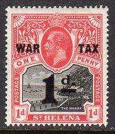 St. Helena GV 1918 WAR TAX / 1d Surcharge On 1d Black & Scarlet, Hinged Mint, SG 88 - Saint Helena Island