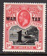 St. Helena GV 1918 WAR TAX / 1d Surcharge On 1d Black & Scarlet, Hinged Mint, SG 88 - Sainte-Hélène