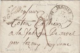 LAC. 17 NOV 1836. PUY-DE-DOME. CURSIVE 62/St Gervais ,,,,St GERMAIN-LEMBRON. T12 ISSOIRE. TAXE PLUME 2 POUR RAVEL LEZOUX - Marcophilie (Lettres)