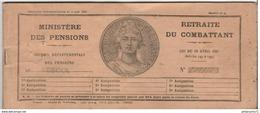 Carnet à Souches De Retraite Du Combattant 1944 - Dokumente