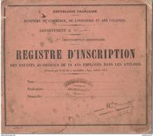 Registre D'inscription Des Enfants Au Dessous De 18 Ans Employés Dans Les Ateliers - Délivré 1896 - Diplômes & Bulletins Scolaires