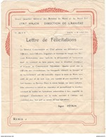 Lettre Type De Félicitations Aux Soldats Des Services Automobiles - 28 Juillet 1918 - Non Attribuée - Dokumente