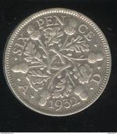 6 Pence Grande Bretagne / United Kingdom 1932 TTB - 1902-1971 : Monnaies Post-Victoriennes