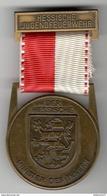 Médaille Jeunes Pompiers Volontaires Allemands - Hessische Jugendfeuerwehr - Minister Des Innern - Pompiers