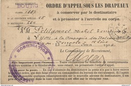Ordre D'Appel Sous Les Drapeaux Au 4ème Rgt De Génie De Grenoble - Juin 1904 - Dokumente