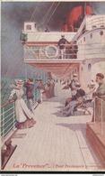 CPA Illustrée - Paquebot La Provence - Le Pont Promenade - Circulée 1917 - Ships