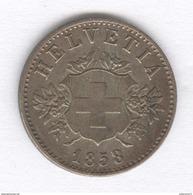 20 Centimes Blason ( 20 Rappen ) Suisse / Switzerland - 1858 B - SUP - Suisse