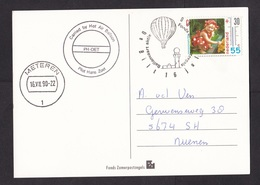 Netherlands: Picture Postcard, 1990, 1 Stamp, Girl, Child, Cancel Carried By Hot Air Balloon (traces Of Use) - Period 1980-... (Beatrix)