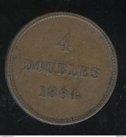 4 Doubles Guernesey 1864 TTB - Guernsey