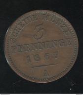 3 Pfenninge Prusse 1867 A - SUP - Petites Monnaies & Autres Subdivisions