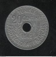 20 Centimes Tunisie 1945 Zinc - SUP - Colonie