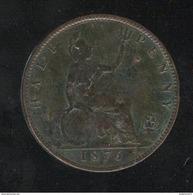 ½ Penny Royaume Uni 1876 - Victoria - TTB+ - Monétaires/De Nécessité