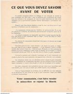 """Tract Gaulliste """" Ce Que Vous Devez Savoir Avant De Voter """" - Mai 68 - Non Signé - Afiches"""