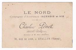 Carte Commerciale Cie Assurances Le Nord, Charles Pénet, 70 Rue De Lyon, Avallon (Yonne) - Equipement