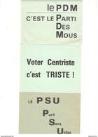 Lot De 3 Petits Tracts Du CDR - PSU - PDM - Centristes - Juin 1968 - Afiches