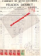 BELGIQUE- ALSEMBERG- RARE FACTURE FELICIEN DESMET-FABRIQUE QUINCAILLERIES-CHAUSSEE RHODE ST GENESE 19-  1936 - Artigianato