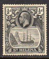St. Helena GV 1922-37 ½d Grey & Black 'Ship & Rock' Definitive, Wmk. Script CA, Hinged Mint, SG 97 - Saint Helena Island
