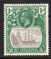 St. Helena GV 1922-37 1d Grey & Green 'Ship & Rock' Definitive, Wmk. Script CA, Hinged Mint, SG 98 - Saint Helena Island
