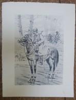 PIERRE ALBERT LEROUX - L'armée Française - Cavaliers En Forêt -  1930 - 32 Cm * 24 Cm - Altri