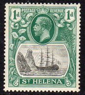 St. Helena GV 1922-37 1d Grey & Green 'Ship & Rock' Definitive, Wmk. Script CA, Hinged Mint, SG 98, Foxed - Saint Helena Island