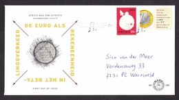 Netherlands: FDC First Day Cover, 1999, 2 Stamps, Euro As Official Counting Currency, Coin, Money (traces Of Use) - Period 1980-... (Beatrix)