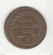 5 Centimes Monaco 1837 MC Honoré V - TTB+ à SUP - Monaco