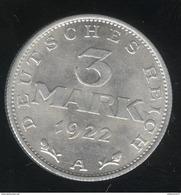 3 Mark Allemagne 1922 A - SUP - [ 3] 1918-1933 : Repubblica Di Weimar