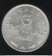 3 Mark Allemagne 1922 A - SUP - [ 3] 1918-1933 : República De Weimar