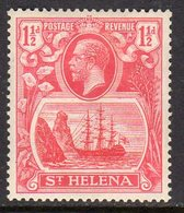 St. Helena GV 1922-37 1½d Rose-red 'Ship & Rock' Definitive, Wmk. Script CA, Hinged Mint, SG 99 - Saint Helena Island