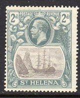 St. Helena GV 1922-37 2d Grey & Slate 'Ship & Rock' Definitive, Wmk. Script CA, Hinged Mint, SG 100 - Saint Helena Island