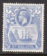 St. Helena GV 1922-37 3d Bright Blue 'Ship & Rock' Definitive, Wmk. Script CA, Hinged Mint, SG 101 - Saint Helena Island