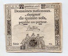 FRANCE : Assignat 15 Sols 1792 (aunc+). Série 19 - Assignats