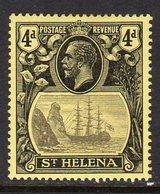St. Helena GV 1922-37 4d Grey & Black On Yellow 'Ship & Rock' Definitive, Wmk. Crown CA, Hinged Mint, SG 92 - Saint Helena Island