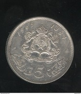 5 Dirhams Maroc / Morocco 1965 Argent - Morocco