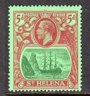 St. Helena GV 1922-37 5d Green & Carmine On Green 'Ship & Rock' Definitive, Wmk. Script CA, Hinged Mint, SG 103 - Saint Helena Island