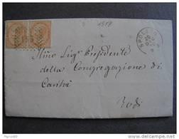 """1578 ITALIA Regno-1866- """"T 17 Torino"""" C. 10 Coppia SPOLETO>TODI (descrizione) - 1861-78 Vittorio Emanuele II"""