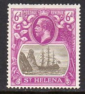 St. Helena GV 1922-37 6d Grey & Purple 'Ship & Rock' Definitive, Wmk. Script CA, Hinged Mint, SG 104 - Saint Helena Island