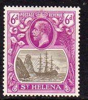 St. Helena GV 1922-37 6d Grey & Purple 'Ship & Rock' Definitive, Wmk. Script CA, Hinged Mint, SG 104 - Sainte-Hélène