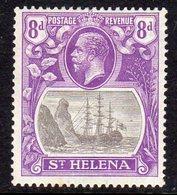 St. Helena GV 1922-37 8d Grey & Bright Violet 'Ship & Rock' Definitive, Wmk. Script CA, Hinged Mint, SG 105 - Saint Helena Island