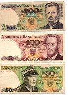 POLSKA - 3 Billets : 200 SLOTYCH ( 1988 ), 100 ZLOTYCH ( 1986 ) Et 50 ZLOTYCH ( 1986 ) - Pologne