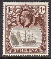 St. Helena GV 1922-37 1/- Grey & Brown 'Ship & Rock' Definitive, Wmk. Script CA, Hinged Mint, SG 106 - Saint Helena Island