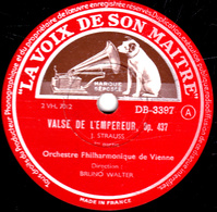 78 Trs - 30 Cm Etat TB  VALSE DE L'EMPEREUR Op.437  STRAUSS 1re Partie Et Conclusion  Orchestre Philharmonique De Vienne - 78 T - Disques Pour Gramophone